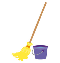 Mop and water bucket vector