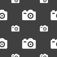 Photo Camera icon sign Seamless pattern on a gray vector image