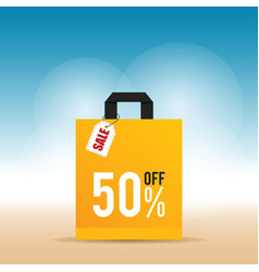 sale on yellow bag design in colorful vector image vector image