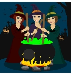 Three halloween young witches making potion vector