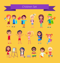 children set isolated on light orange vector image vector image