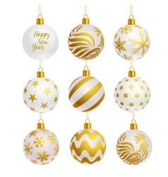 christmas tree balls icons vector image vector image
