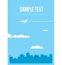 Flying white airplane in blue sky vector image