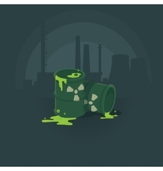 barrels of toxic substances Pollution the vector image