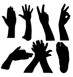 black set silhouette of hands on white background vector image