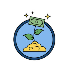 business money growth plant with banknote retro vector image