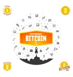 bitcoin bage set digital money blockchain vector image