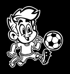 Cartoon boy kid playing football or soccer in a vector