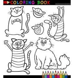 Cartoon Cats or Kittens Coloring Page vector image