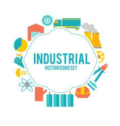 Design decorative set with industry objects poster vector