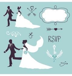 Elegant wedding couples in silhouette vector image vector image