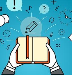 Getting information via book Simple line design vector image