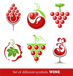signs and symbols of wine and grapes vector image