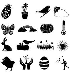 Spring season icons set vector image vector image