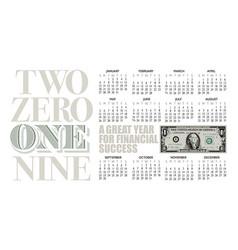 2019 one dollar bill calendar with graphic headlin vector image