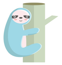 a sloth climbing bamboo tree or color vector image