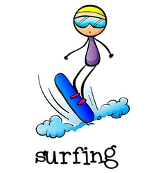 A stickman surfing vector image