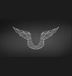 abstract linear pair wings tattoo linear vector image