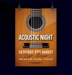 acoustic night party flyer design with string vector image