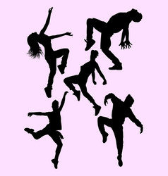 attractive male and female dancers silhouettes vector image