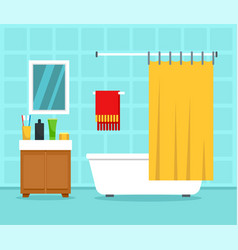 bathroom interior concept background flat style vector image
