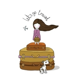 Beautiful little girl on the suitcase vector