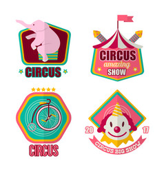 big amazing circus show 2017 promotional emblems vector image