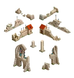 Big set medieval buildings isometric game art vector