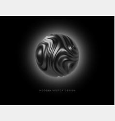 black metal organic shape 3d sphere isolated on vector image
