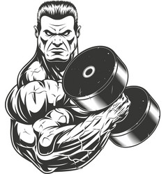 bodybuilder with dumbbell vector image