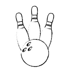 Bowling pin sport ball sketch vector