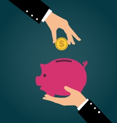Business hand putting coin into a piggy bank vector