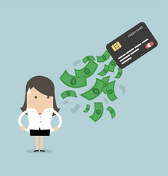 businesswoman no money debt from credit card vector image