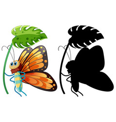 butterfly holding watering can vector image