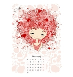 Calendar 2016 february month Season girls design vector