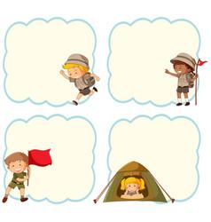 Camping children blank banner vector