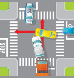 Car accident top view concept vector