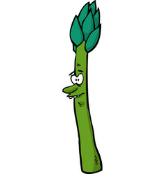cartoon doodle character asparagus vector image