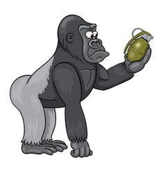 cartoon male gorilla in perplexity is looking vector image