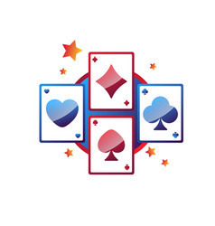 Casino online services promo emblem with play vector