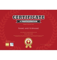 Certificate of participation in red sport theme vector image