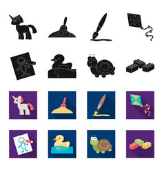 Children toy blackflet icons in set collection vector