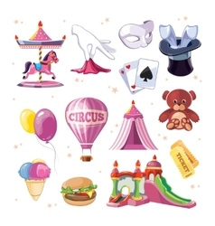 Circus entertainment icons set Flat style design vector