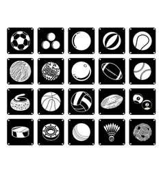 Collection of Sport Ball Icons on White Background vector image