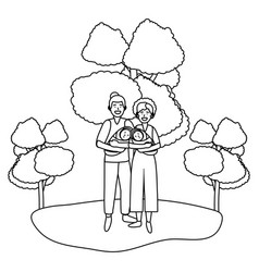 Couple carrying babys black and white vector