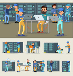 Datacenter professional workers collection vector