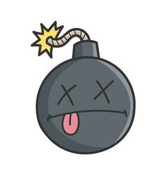 Dead cartoon bomb with burning wick vector
