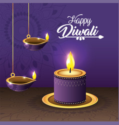 Diwali vassels and candle lits with mandala vector