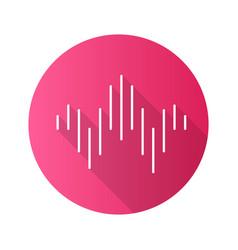 Dj sound wave pink flat design long shadow glyph vector
