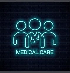 Doctor team neon icon medical care neon concept vector